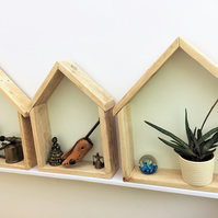 Wall hanging display boxes, floating shelves made from reclaimed pallets