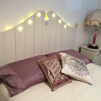 Bespoke headboard for double bed handmade from reclaimed wood