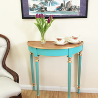 Hand painted and gilded console, half moon table