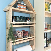 Rustic spice rack, kitchen shelves and paper towel holder