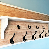 Rustic handmade solid wood coat rack and shelf with cast iron hooks