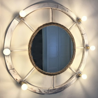 Nautical style mirror with LED lights, coastal wall decor, mirror and lights