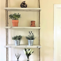 Wall mounted rope hanging shelves - wood and jute