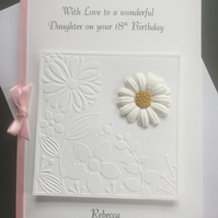 Personalised Handmade Birthday Card Any Age Daisy and Floral Embossed Panel