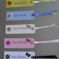 Pack of 10 Handmade Happy Birthday Gift Tags Assorted
