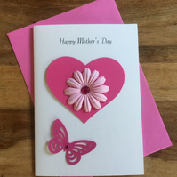 Mothers Day Card Pink Daisy Design