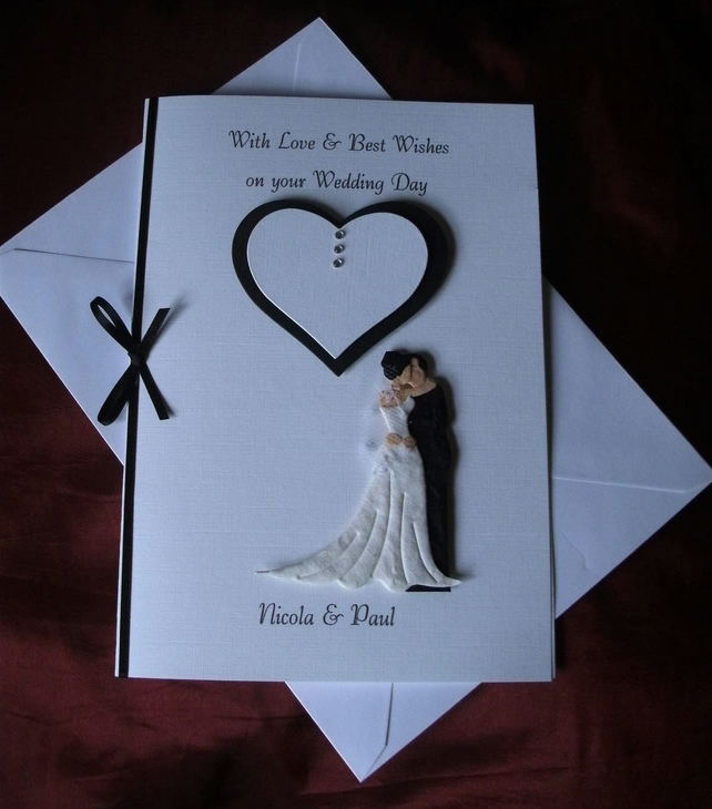 HANGING HEARTS WITH NAMES HANDMADE PERSONALISED WEDDING DAY CARD
