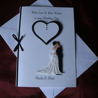 Personalised Wedding Day Card Handmade Bride, Groom and Hearts