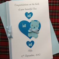 New Baby Boy Card Son Handmade and Personalised Teddy Bear, Hearts and Trains