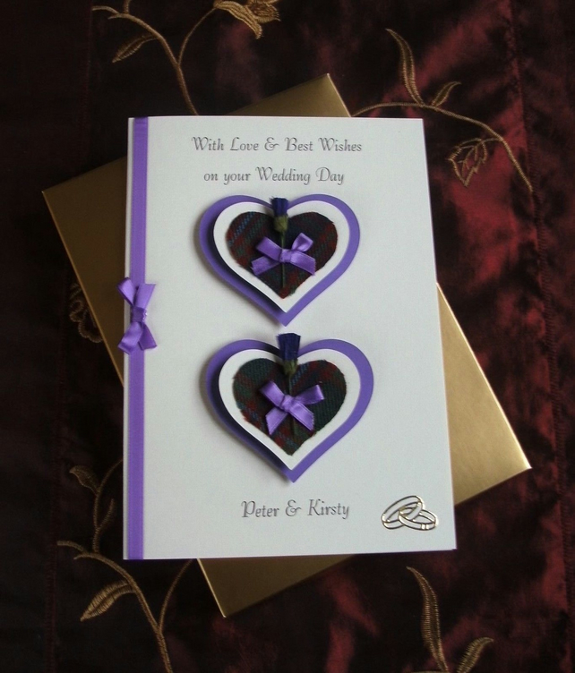 Boxed Wedding Day Card Personalised Thistles and Hearts Purple and Cream