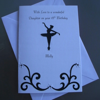 Birthday Card Ballerina Any Age Relation Daughter 11th 12th 18th Personalised