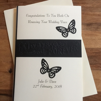 Renewing Of Wedding Vows Handmade and Personalised Greeting Card Black and Cream