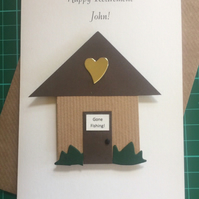 Retirement Card Gone Fishing Handmade and Personalised Shed