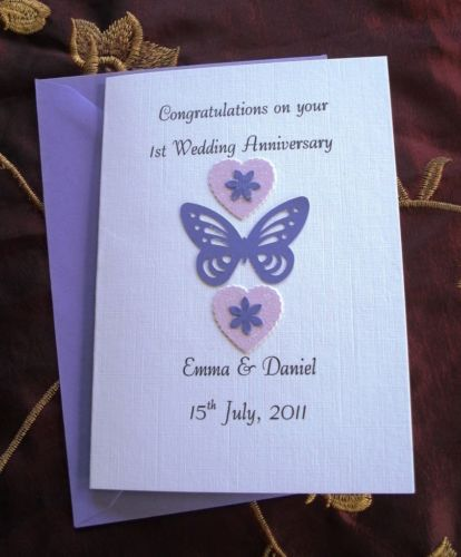 1st Anniversary Card Hearts and Butterfly Handmade and Personalised
