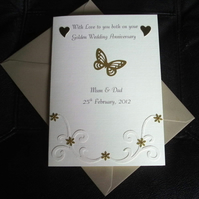 Golden Wedding Anniversary Card 50th Handmade and Personalised