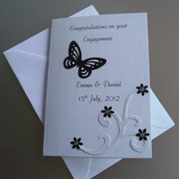 Personalised Engagement Card Handmade Butterfly, Swirl and Flowers B&W Design