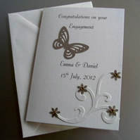 Personalised Engagement Card Handmade Butterfly, Swirl and Flowers Gold & Cream