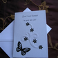Personalised Good Luck In Your New Job Card Female Butterfly Flowers Swirl B&W