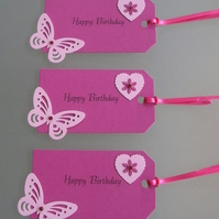 3 Large Happy Birthday Gift Tags Pink Butterflies Daisies Hearts