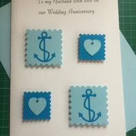 Anniversary Card For Husband Nautical Design Anchors and Hearts