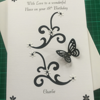 Boxed Personalised Birthday Card B&W swirls any age relation 18th 21st 30th 40th