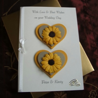 Boxed Wedding Day Card, gold yellow Hearts Sunflowers Handmade and Personalised