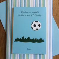 Football Birthday Card Personalised For Any Age and Relation