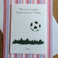 Football Birthday Card Personalised For Any Age and Relation Red Stripes