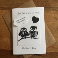New Home Card Personalised Cute Owls Black and White Silhouette
