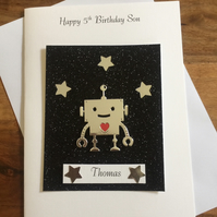 Robot in Space Birthday Card Personalised Son Grandson Brother 5th 6th 7th 8th