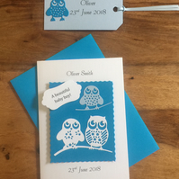 New baby Boy card with matching gift tag Owls Blue Personalised with name & date