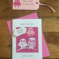 New baby Girl card with matching gift tag Owls Pink Personalised Name & Date
