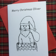 Personalised Child's Kids Colour Me In Christmas Card Santa Stuck In Chimney
