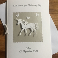 Unicorn Christening Card suitable for older child Personalised Silver and White