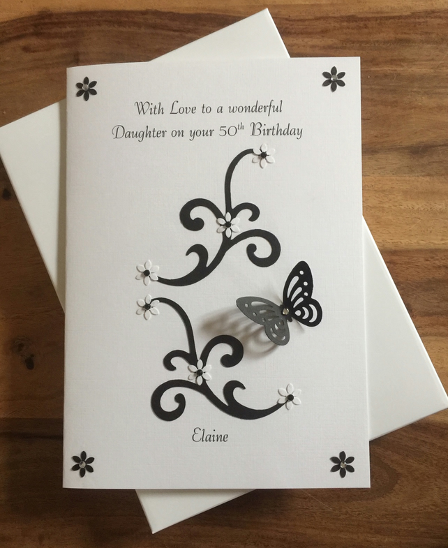 Personalised A5 Black and White Sisters Birthday Card Any Relation Friends Niece