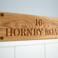 House Sign, Carved Oak House Sign, Personalised up to 500mm long, 2 Lines