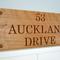 House Sign, Carved Oak House Sign, Personalised up to 1000mm long, 3 Lines