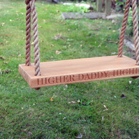 Garden Swing (Large), Solid Oak Swing, Personalised Swing with Carving
