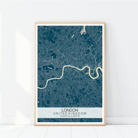 A3 London Map Print, City Map Print