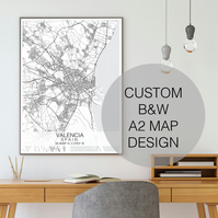 A2 Custom Map Print, Choose your own location, B&W Map Print