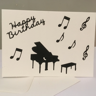 Music themed birthday card with piano and musical notes