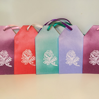 Handmade emboss resist rose gift tags