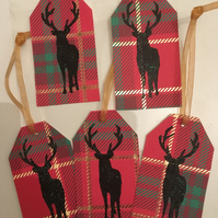 Pack of 5 Tartan stag christmas gift tags