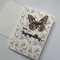 With sympathy card with floral background butterfly