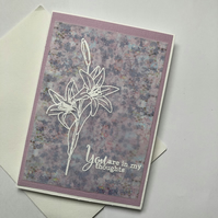 Lily embossed sympathy, my thoughts are with you card
