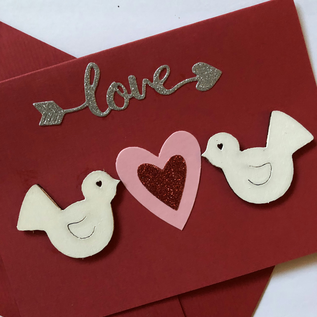 White dove birds and heart red card valentines anniversary