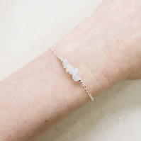 Silver Rainbow Moonstone Bead Bar Crystal Bracelet