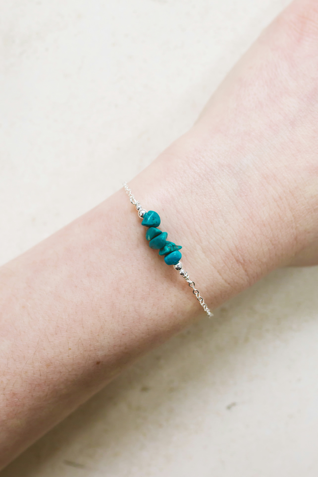 Silver Turquoise Bead Bar Crystal Bracelet