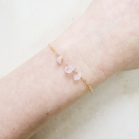 Gold Rose Quartz Beaded Chain Crystal Bracelet