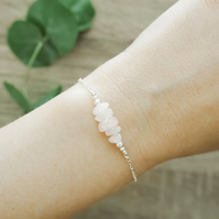 Rose Quartz Bead Bar Crystal Bracelet in Sterling Silver